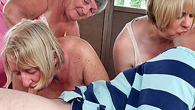 Older mature Grandma foursome with a one man