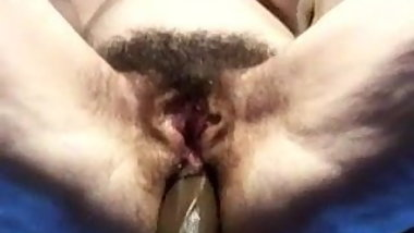 Toying an old hairy ass