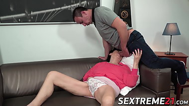 Naughty granny bent over and fucked by younger stud