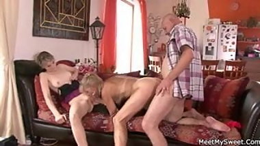 Hot threesome with her BF's parents