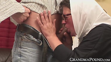 Cock riding granny gets warm cum all over her glasses