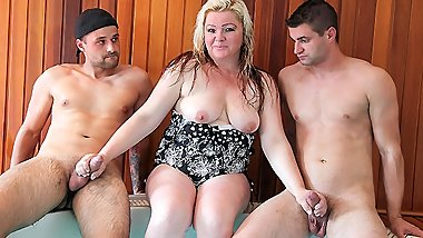 Busty Auntie Loves Family Cock - Threesome CFNM