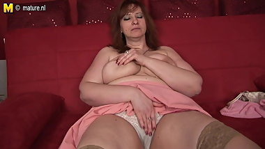 Big mama loves to get wet on her couch