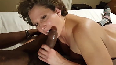 Granny Like Choclate Late at Night In Bed. Creampie Session