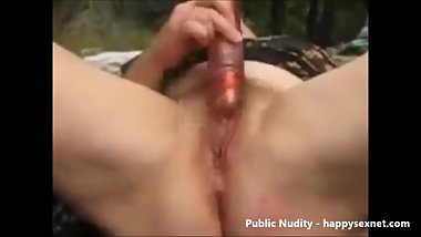 Pervert granny masturbating outdoor