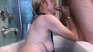 Italian granny is fucked in shower