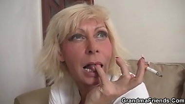 Threesome orgy with old blonde woman