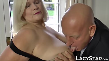 Blonde Lacey Starr riding grandpa dick before cum on tits