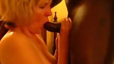 Blonde granny sucking BBC