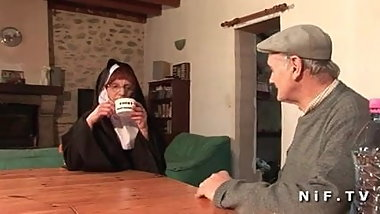 A french nun hard sodomized in threeway