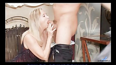 Sex hungry granny fucks stud