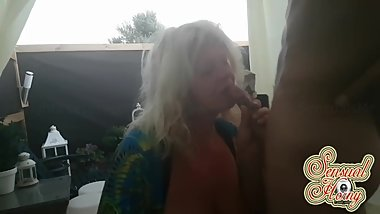MATURE Sucking COCK of a very YOUNG guy#cougar #blowjob