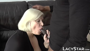 Busty UK grandma Lacey Starr riding BBC interracial