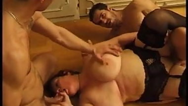 Big Boobed Fatty Granny Olga Needs Two Young Cocks